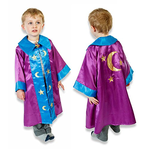 Merlin Zauberer Kostüm - Zauberer Kostüm Kinder 3-8 Jahre alt - Magier Kostüm Zaubererumhang Karneval - Slimy Toad