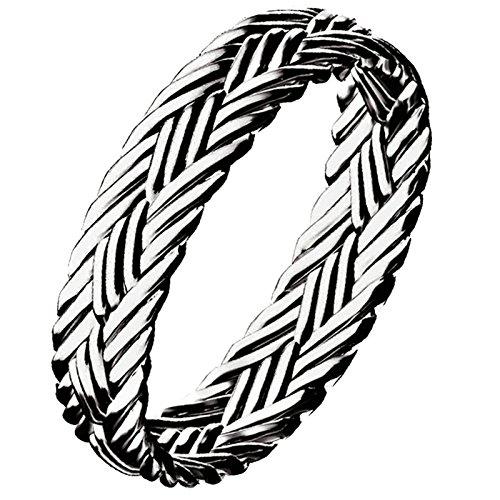 Aooaz Gioielli anelli da uomo anello argento 925 Creeper Knitting Ring anello aperto Argento