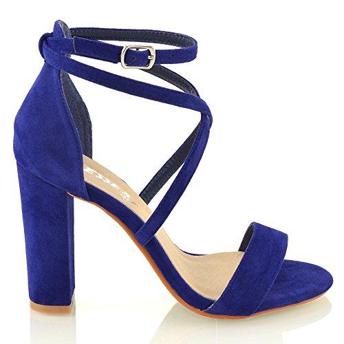 ESSEX GLAM Sandalo Donna Cinturino alla Caviglia Tacco a Blocco Fibbia Festa Azzurro Finto Scamosciato