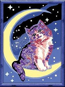 """Ravensburger 28101 - Juego de pintura por números diseño """"Gato y luna"""", 18 x 24 cm importado de Alemania"""
