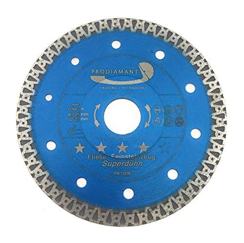 PRODIAMANT Premium Diamant-Trennscheibe Fliese/Feinsteinzeug F40 125 mm x 22,2 mm Diamanttrennscheibe 125mm Fliesenscheibe passend Winkelschleifer