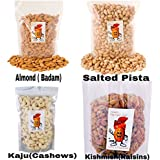 Sainik's Dry Fruit Mall Premium Quality Combo Pack Of 1Kg Almonds, Cashews,Raisins And Pista