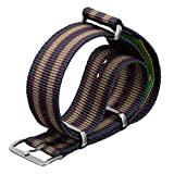 Geckota® Nylon Watch Strap Vintage Bond NATO G10 Dark Blue/Red/Green Stripe Satin, 20mm