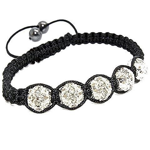 Blanc Et Argent coloré Bracelet Shamballa avec 10mm Pave Cristal Perle Bijoux tendance