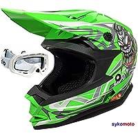 Verde Casco Moto Cross Infantil para Ni/ños S 51-52cm