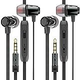 FosPower Universal Premium In-Ear Kopfhörer, Headset für Android und iOS, geräuschisolierend mit Mikrofon und Lautstärkenregler für Apple, Iphone, Ipod, Samsung, MP3-Player-schwarz Größe S/M/L 2 Stück