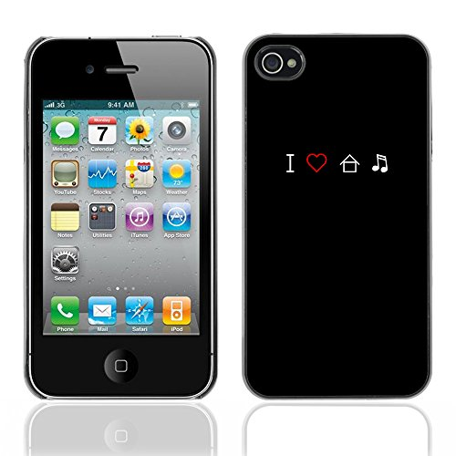 Graphic4You I Love House Musik Design Harte Hülle Case Tasche Schutzhülle für Apple iPhone 4 und 4S Design #10