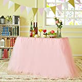 Marry Acting Improved Tutu Tulle Table Skirt Table Cover Cloth Skirting for Wedding Christmas New Year Party Valentine's Day Baby Shower Birthday Cake Table Girl Princess Party Decor (Pink)