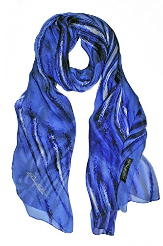 Borderline - 100% made in italy - sciarpa donna in pura seta - metal scarf (blu)