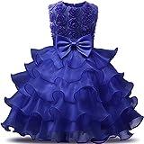 NNJXD Robe de Filles Gamins Volants Dentelles Robes de Mariage pour Les Parties Fleur Taille(120) Bleu foncé pour Les Filles DE 4-5 Ans