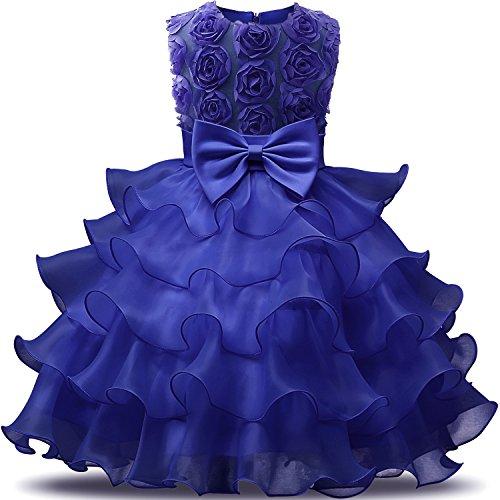 Kinder Rüschen Spitze Party Brautkleider Größe(140) 6-7 Jahre Blumen Dunkelblau (Rüschen Auf Kleider)