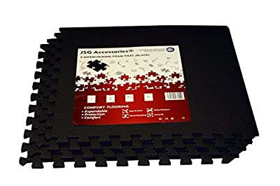 JSG Accessories® Outdoor/Indoor Protective Flooring Mats - Interlocking Reversible Floor Matting suitable for Gym, Play Area, Exercise, Yoga in Black colour 4 pack, 16 pack, 32 pack, 48 pack - cheap UK flooring store.
