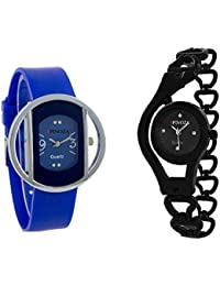 Freny Exim Luxurious Black Metal Chain Strap With Sophisticated Blue Dial Rubber Strap Analog Watch For Women...