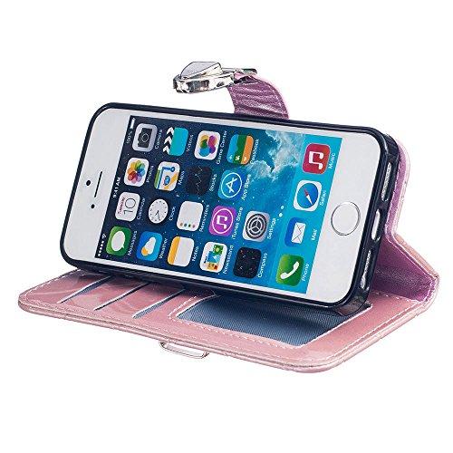 Custodia iPhone 5S 5, iPhone SE Cover, Metallo Magnetico Pulsante Griglia Sbalzato Slap-up Moda Portafoglio Case Supporto Funzione Pelle Libro Case rosa