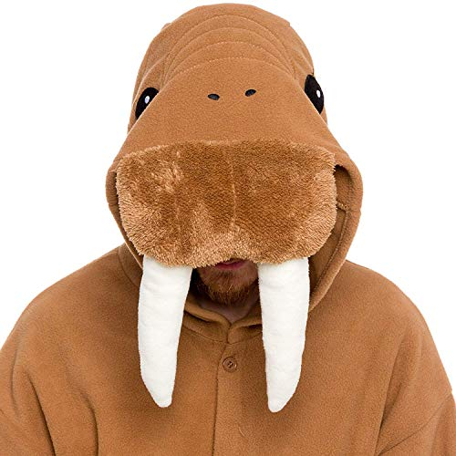 Stitch Erwachsene Für Kostüm - dressfan Animal Overall Walrus nachtwäsche Erwachsene Pyjamas Unisex Polar Fleece Cosplay kostüme Leistung kostüm (Brown)