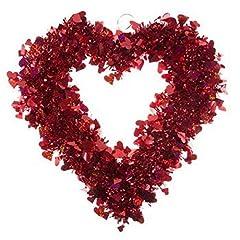 Idea Regalo - XL 53,3cm Rosso Lucido Tinsel San Valentino Cuore Corona ~ Porta Anteriore da Appendere alla Parete Mantel Decor Party Decor