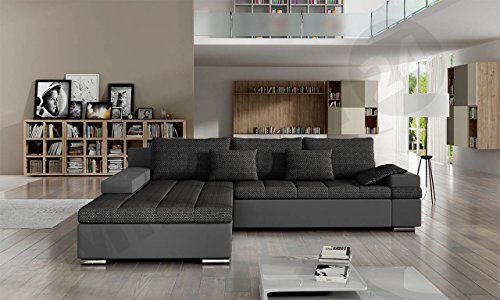 Design Ecksofa Bangkok, Moderne Eckcouch mit Schlaffunktion und Bettkasten, Ecksofa für Wohnzimmer, Gästezimmer, Couch L-Form, Wohnlandschaft, (Ecksofa Links, Soft 029 + Majorka 03) - 2