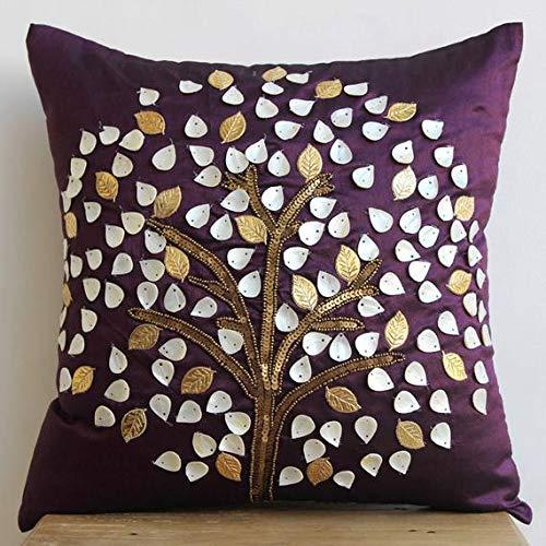 Luxus Pflaume Euro-Schein, 65x65 cm Euro-Kissenbezüge, Perlmutt-Baum Euro Shams, Seide Euro Kissen Shams, Blumen Modern Euro Shams - Plum Hope Tree -