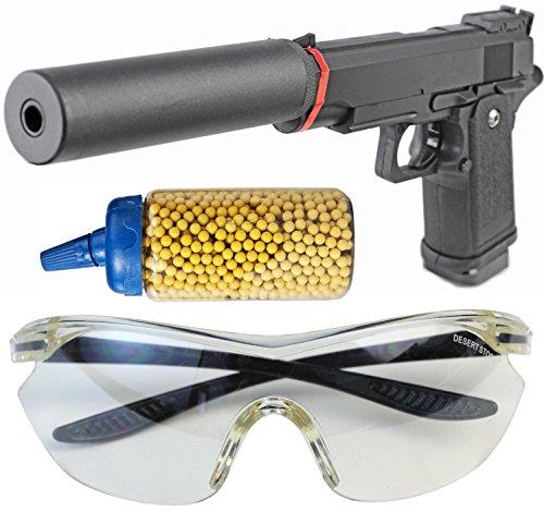 Nick and Ben Softair-Pistole Vollmetall Set mit Schalldämpfer inkl. 500 Kugeln und Schutzbrille schwarz Kinder-Pistole Spielzeug-Pistole Air-Soft unter 0,5 Joule ab 14 Jahre