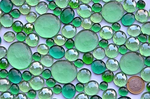Bazare Masud e.K. 430 gr. Dekosteine Glasnuggets Grünmixmix, in 4 versch. Größen 10-33 mm, ca. 126 St. transparent, teilweise irisierend Muggelssteine -