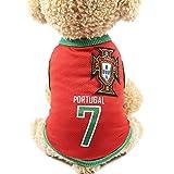Nicedeal Trikot für Haustiere, Trikot, Motiv: Fußballmannschaft 7, mit Länder-Logo, vorbereitet für den Sport-Fan, geeignet für Hunde und Katzen, Größe S
