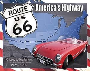 Moule Plaque métal Route 66: America s Highway Chicago à Los Angeles
