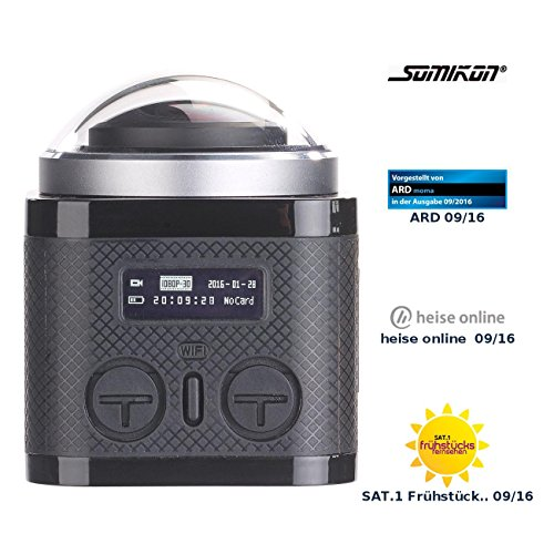 Somikon 360°-4K-Action-Cam, 16-MP-Sony-Sensor, 24 B./Sek., Fernbedienung, IP68