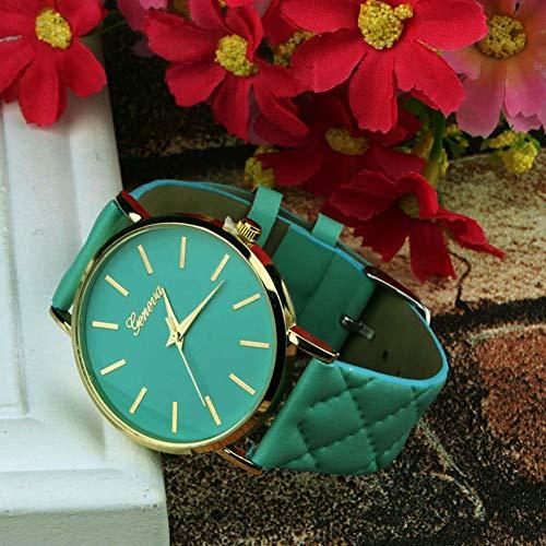 FVNRDS Damen Armbanduhr Uhr-Frauen-Leder-Art- und Weisedamen-Kleid passt beiläufige Armbanduhr-Geschenke der Süßigkeit-Farben-Frauen auf, Grün