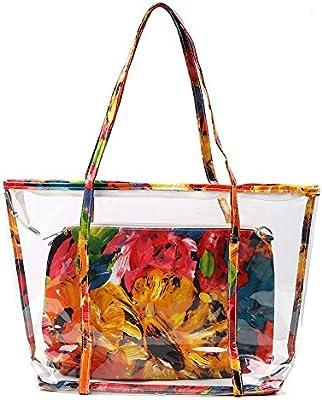Zicac- Nuevo Bolso de la Playa de Moda de la Impresión Floral Bolsas Casual de Hombro Bolsa Transparente Bolsa de Viaje de Mano