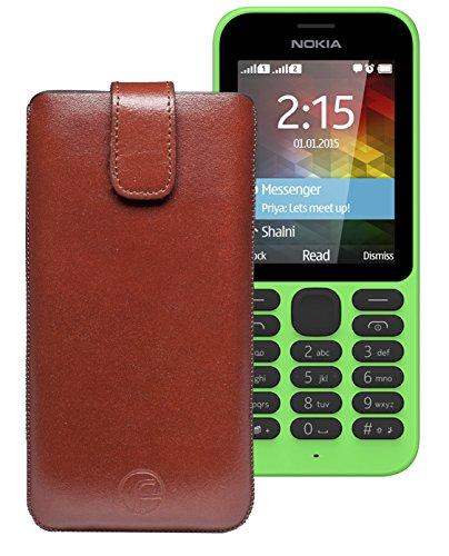 Original Favory Etui Tasche für / Nokia 215 Dual SIM / Leder Etui Handytasche Ledertasche Schutzhülle Case Hülle Lasche mit Rückzugfunktion* in Braun