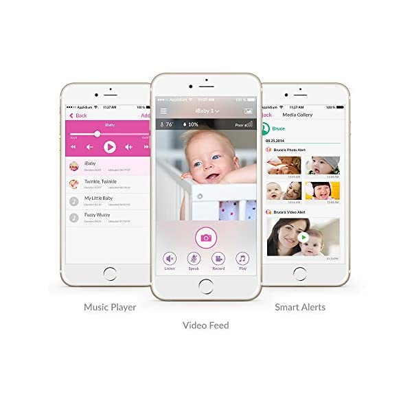 Baby Monitor, Ibaby Updated 1080P Video Baby Monitor Camera with WiFi Speaker for 2 Way Audio, Motion & Sound Notification, Night Vision and Thousands of Lullabies.  1080p HD Video Quality - Full HD baby monitor with crystal clear video resolution, night vision with Near-invisible infrared LEDs let you see your baby clearly even in total darkness . Smart Nursery Features - Upgraded CD speaker, play thousands of lullabies & bed time stories, snap pictures, record videos, grow-up timeline ,temperature & humidity Sensors Two-Way Wireless Talk - Comfort and talk to your baby from anywhere, whether you're at the office or in the living room 6