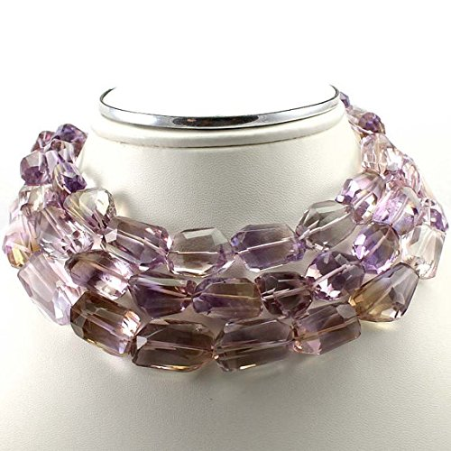 Brazilian AMETRINE Faceted Barrel Nuggets. AMETRINE Step Cut Faceted Nuggets,Superb Item at Low Price 15 to 18 mm 16 inch per string (sku3107) (Low-cut Plain)
