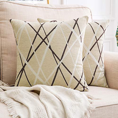 miulee confezione da 2 fodere per cuscini decorative federe copricuscini stampati arredi per casa divano camera da letto auto 17.5inch/44.5cm bianco latte modello b