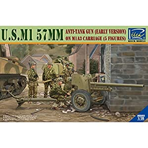 RIICH MODELS rv35019 - Maqueta de u.s.m1 57 mm Anti de Reservorio Gun Early Versión on m1 a3 Carriage con 5 tripulaciones