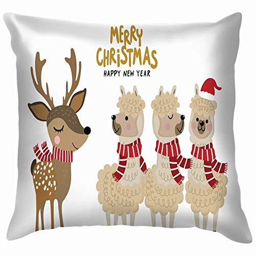 LarissaHi Niedliche Alpaka Deer Wear Weihnachten Kostüm Tiere Wildlife Holidays Dekokissen Fall Kissenbezug Kissenbezug Aquarell für Couch 18X18 Zoll / 45X45 cm (Niedliche Tiere Weihnachten Kostüm)