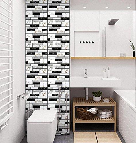 ZEZKT-Home 3D Ziegelstein-Tapete, Ziegelstein-Wandaufkleber, Wand Paneele für Fernsehapparat-Wände Dekoration wasserdicht, Brick Stone Rustic Effekt Selbstklebende Wandaufkleber Home Decor (I)