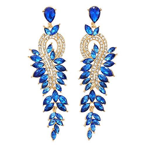 Blau Marquise Kristall Strass Trauben Chandelier Kronleuchter Lange Statement Ohrringe, Partei Abschlussball, Gold - Antiquitäten, Kristall-kronleuchter
