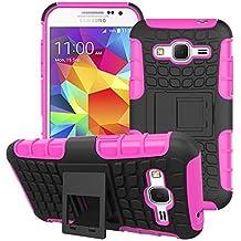 Samsung Galaxy Core Prime G360 / Prevail LTE Funda,Mama Mouth Heavy Duty silicona híbrida con soporte Cáscara de Cubierta Protectora de Doble Capa Funda Caso para Samsung Galaxy Core Prime G360 / Prevail LTE,Rosa