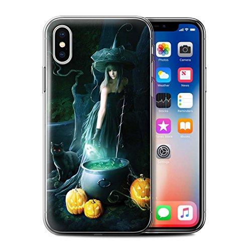 Officiel Elena Dudina Coque / Etui Gel TPU pour Apple iPhone X/10 / Somnambule/Insomnie Design / Magie Noire Collection Sorcière Chaudron