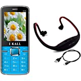 I KALL K35 Dual Sim Mobile With MP3/FM Player Neckband- Blue