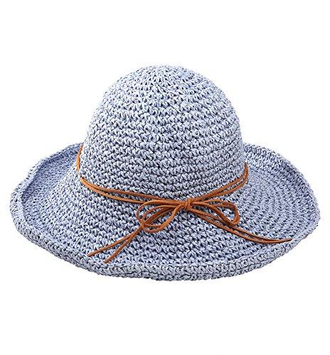 Urbancoco Damen klappbare Kappe flexible Sommer Strand Sonne Hüte (hellblau) (Hut Damen Sonne)