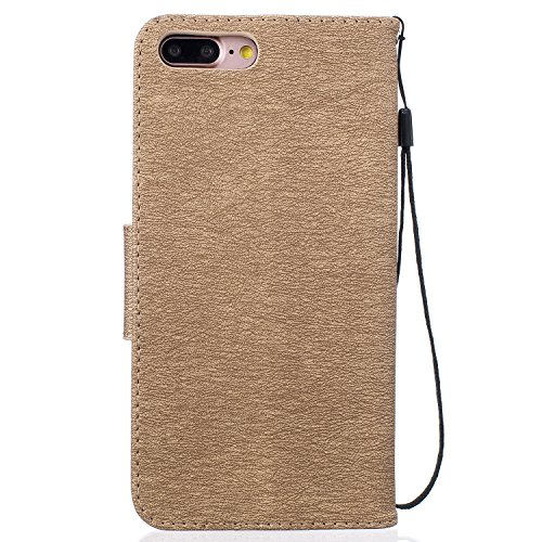 Schutzhülle für iPhone 7 Plus/8 Plus Leder Tasche Lila,BtDuck Slim Flip Cover Lanyard Ledertasche Wallet Case Bunte Muster Patterned Handytasche PU Leder Hülle für Apple iPhone 7 Plus/8 Plus 5,5 Zoll  Bear,gold