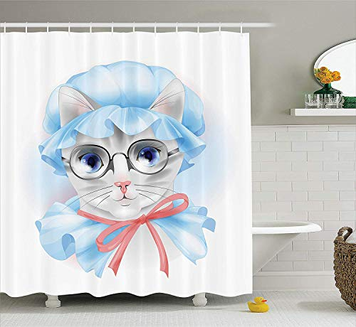 Cat Lover Decor Collection, Granny Grandma Old Kitty with Her Old-Fashioned Pyjamas and Reading Glasses Artsy, Polyester Fabric Bathroom Shower Curtain Set with Hooks, Blue Pink Grey Pink Collection-pyjama Set