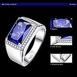 Bonlavie Herren Ringe 925 Sterling Silber Platz Saphir Dekoration Verlobungs/Heirate Ringe - 5