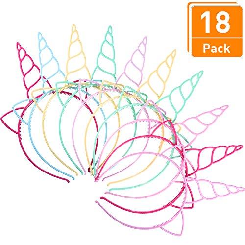 Blulu 18 Piezas de Diadema de Unicornio de Plástico Materiales de Decoración de Disfraz para Fiesta (Colores Claros)