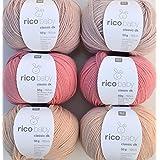 Woll Juego de bebé lana Rico Baby Classic 6x 50g # 28, lana suave para punto y ganchillo