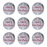 eKunSTreet ® 40x Runde 3.5cm Merry Christmas Weihnachtsaufkleber mit Schneeflocke zum Weihnachten / Adventskalender / Weihnachtsgeschenke Papieraufkleber / Geschenkaufkleber / Geschenke verpacken / Sticker / Aufkleber / Etiketten
