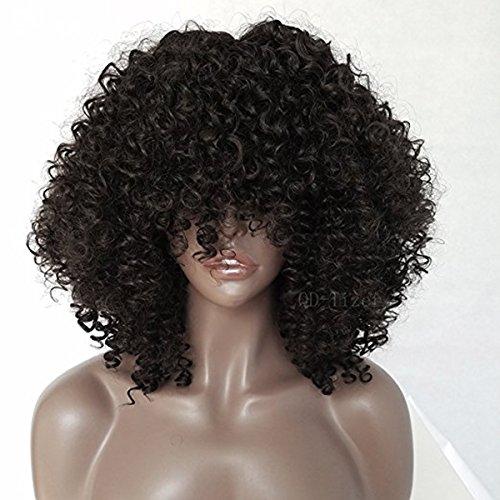 iges Afro Perücken für schwarze Frauen Hitzebeständig nicht Spitze Kunsthaar Perücken 45,7cm (Perücken Für Billig)