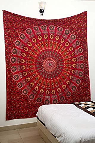 Indian Peacock Red Meditation Mandala Hippie Hippy Bohemian Tapestry + 1 Free Cushion Cover Wall Hangings Throw Cotton Bedcover Ethnic Decorative Décor Dorm Wall Art by Lali Prints