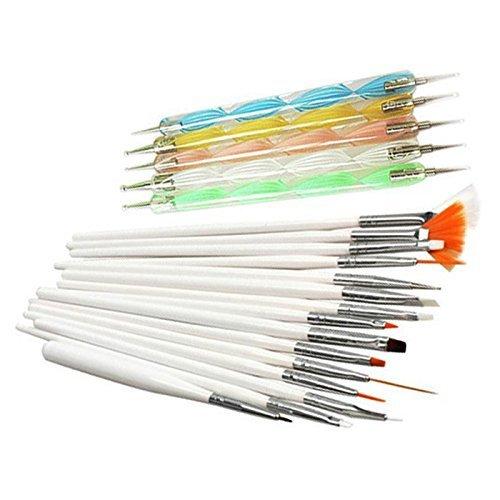 Vococal® Ensemble de 15Pcs Nail Art Pinceaux Vernis à Ongles Peinture Pinceau de Dessin Détail + 5Pcs Marbleizing Dotting Pen Blanc